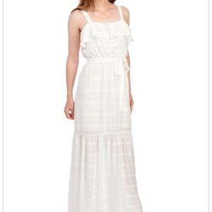 JUNE & HUDSON Tiered Tie Waist Sleeveless Dress